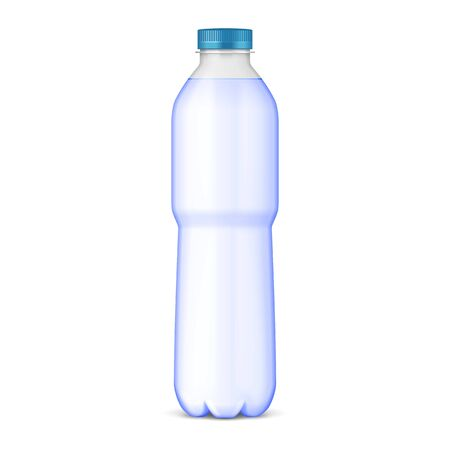 Mockup Plastic Clean Bottle Full, Filled With Blue Cap. Soft Drink. Disposaple. Mock Up Template. Illustration Isolated On White Background. Ready For Your Design. Product Packaging. Vector EPS10