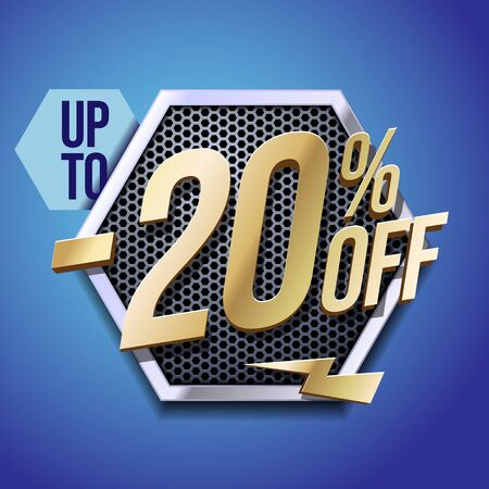 Up To 20 Off Special Offer Gold 3D Digits Banner, Template Twenty Percent. Sale, Discount. Technology. Metal, Gray, Glossy Numbers. Illustration On Blue Background. Ready For Your Design.