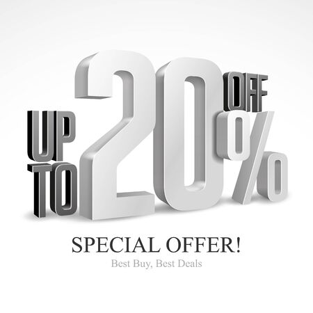 Up To 20 Off Special Offer Silver 3D Digits Banner, Template Twenty Percent. Sale, Discount. Grayscale, Metal, Gray, Glossy Numbers. Illustration Isolated On White Background. Ready For Your Design.