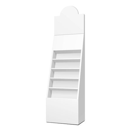 Cardboard Retail Shelves Floor Display Rack For Supermarket Blank Empty. Mock Up. 3D On White Background Isolated. Ready For Your Design. Product Advertising. Vector EPS10 Ilustração