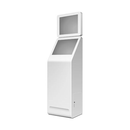 Outdoor White. Payment Terminal. ATM, POS, POI Advertising Stand On White Background. 3D Mock Up, Template. Illustration Isolated On White Background. Vector EPS10 Ilustração