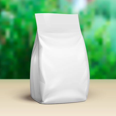 Mockup Blank Stand Up Pouch Snack Sachet Bag. Mock Up, Template. Green Summer Garden Background. Ready For Your Design. Product Packaging. Vector EPS10
