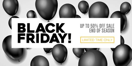 Black Friday Sale Poster, Banner 3D Balloons Background. Special Offer. Up To 50 . End Off Season. Template Illustration Ready For Your Design. Vector Banco de Imagens - 135422905