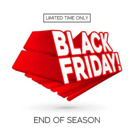 3D Black Friday Sale Poster, Banner. Special Offer. Up To 50 . End Off Season. Red Text. Template Illustration Isolated on White Background. Ready For Your Design. Vector Banco de Imagens - 135422941