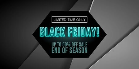 Black Friday Sale Poster, Banner With Neon Blue Text. Special Offer. Up To 50 . End Off Season. Template Illustration on Gray Background. Ready For Your Design. Vector EPS10 Banco de Imagens - 135422973