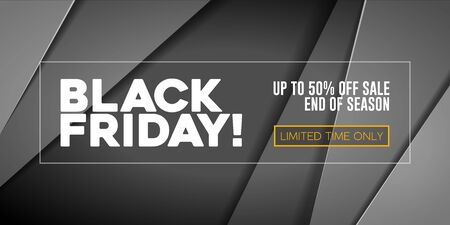 Black Friday Sale Poster, Banner 3D Balloons Background. Special Offer. Up To 50 . End Off Season. Template Illustration Ready For Your Design. Vector Banco de Imagens - 135422996