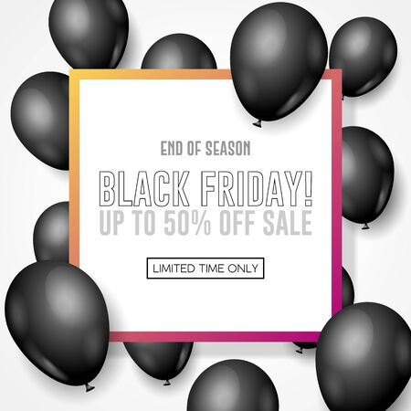 Black Friday Sale Poster, Banner 3D Balloons Background. Special Offer. Up To 50 . End Off Season. Template Illustration Ready For Your Design. Vector Banco de Imagens - 135423002