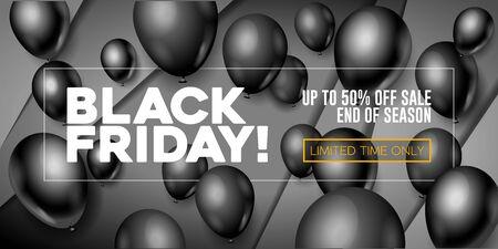 Black Friday Sale Poster, Banner 3D Balloons Background. Special Offer. Up To 50 . End Off Season. Template Illustration Ready For Your Design. Vector Ilustração