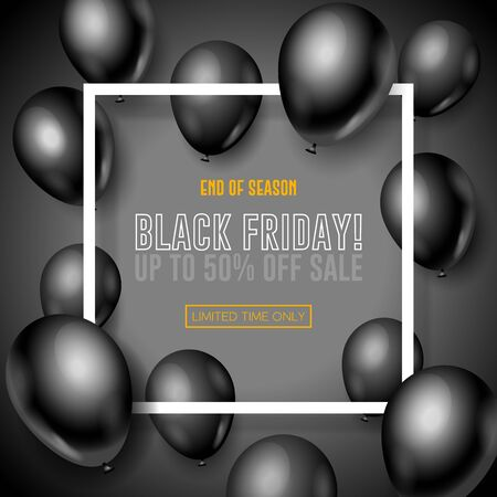 Black Friday Sale Poster, Banner 3D Balloons Background. Special Offer. Up To 50 . End Off Season. Template Illustration Ready For Your Design. Vector Banco de Imagens - 135423024