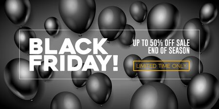 Black Friday Sale Poster, Banner 3D Balloons Background. Special Offer. Up To 50 . End Off Season. Template Illustration Ready For Your Design. Vector Banco de Imagens - 135423127