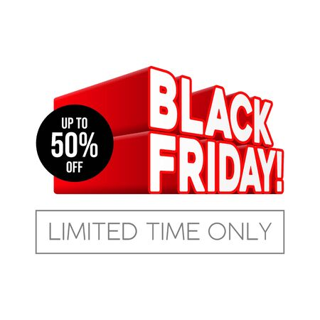 3D Black Friday Sale Poster, Banner. Special Offer. Up To 50 . End Off Season. Red Text. Template Illustration Isolated on White Background. Ready For Your Design. Vector Banco de Imagens - 135423148