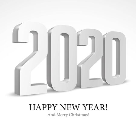 2020 Happy New Year Background, Card, Banner, Flyer Or Merry Christmas Themed Invitations. Gray Digits Isolated On White Background. Ready For Your Design. Vector Banco de Imagens - 135423172