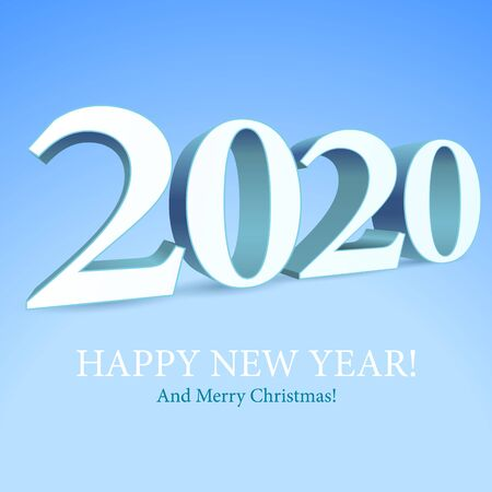 2020 Happy New Year Background, Card, Banner, Flyer Or Merry Christmas Themed Invitations. White Digits On Blue Background. Ready For Your Design. Vector Banco de Imagens - 135423194
