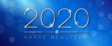 2020 Happy New Year Background, Card, Banner, Flyer Or Christmas Themed Invitations. Blue Illustration With Golden Digits And Snowflake. Ready For Your Design. Vector Banco de Imagens - 135423274