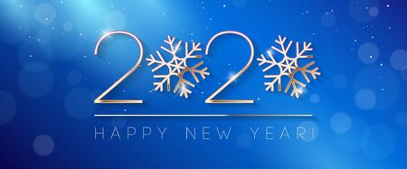 2020 Happy New Year Background, Card, Banner, Flyer Or Christmas Themed Invitations. Blue Illustration With Golden Digits And Snowflake. Ready For Your Design. Vector Banco de Imagens - 135423430