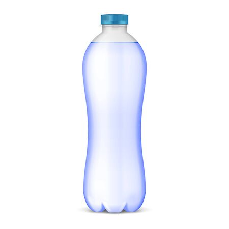 Mockup Plastic Clean Bottle Full, Filled With Blue Cap. Soft Drink. Disposable. Mock Up Template. Illustration Isolated On White Background. Ready For Your Design. Product Packaging. Vector Banco de Imagens - 135423668