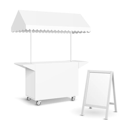 White POS POI Blank Empty Retail Stand Stall Mobile Bar Display With Roof, Canopy, Banner. Fast Food. On White Background Isolated. Mock Up Template Ready For Your Design. Product Packing Vector Banco de Imagens - 135423700