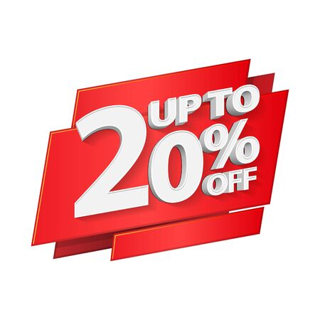 Up To 20 Off Special Offer 3D Red Digits Banner, Template Twenty Percent. Sale, Discount. Grayscale, Gray, Glossy Numbers. Illustration Isolated On White Background. Ready For Your Design. Banco de Imagens - 135423707