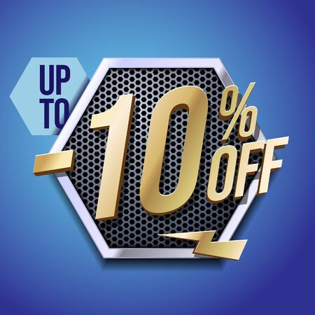 Up To 10 Off Special Offer Gold 3D Digits Banner, Template Ten Percent. Sale, Discount. Technology. Metal, Gray, Glossy Numbers. Illustration On Blue Background. Ready For Your Design. Banco de Imagens - 135423794