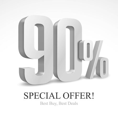 90 Off Special Offer Silver 3D Digits Banner, Template Ninety Percent. Sale, Discount. Grayscale, Metal, Gray, Glossy Numbers. Illustration Isolated On White Background. Ready For Your Design. Vector Banco de Imagens - 135423810