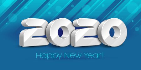 2020 Happy New Year Background, Card, Banner, Flyer Or Marry Christmas Themed Invitations. White Digits On Blue Background. Ready For Your Design. Vector Banco de Imagens - 135423813