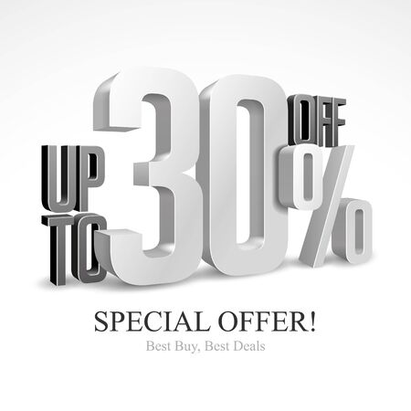 Up To 30 Off Special Offer Silver 3D Digits Banner, Template Thirty Percent. Sale, Discount. Grayscale, Metal, Gray, Glossy Numbers. Illustration Isolated On White Background. Ready For Your Design. Banco de Imagens - 135423826