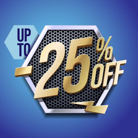 Up To 25 Off Special Offer Gold 3D Digits Banner, Template Twenty Five Percent. Sale, Discount. Technology. Metal, Gray, Glossy Numbers. Illustration On Blue Background. Ready For Your Design.