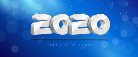 2020 Happy New Year Background, Card, Banner, Flyer Or Marry Christmas Themed Invitations. White Digits On Blue Background. Ready For Your Design. Vector Banco de Imagens - 135423906