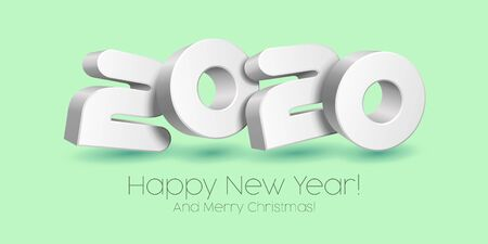 2020 Happy New Year Background, Card, Banner, Flyer Or Marry Christmas Themed Invitations. White Digits On Neo Mint, Blue Background. Ready For Your Design. Vector