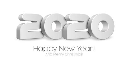 2020 Happy New Year Background, Card, Banner, Flyer Or Marry Christmas Themed Invitations. Gray Digits Isolated On White Blackground. Ready For Your Design. Vector Banco de Imagens - 135423976