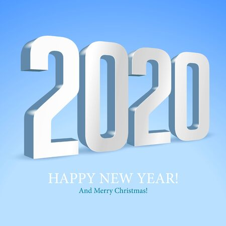 2020 Happy New Year Background, Card, Banner, Flyer Or Merry Christmas Themed Invitations. White Digits On Blue Background. Ready For Your Design. Vector Banco de Imagens - 135424004