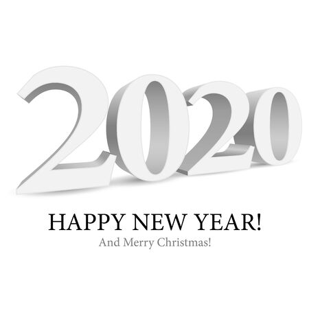 2020 Happy New Year Background, Card, Banner, Flyer Or Merry Christmas Themed Invitations. Gray Digits Isolated On White Background. Ready For Your Design. Vector Banco de Imagens - 135424029