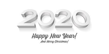 2020 Happy New Year Background, Card, Banner, Flyer Or Marry Christmas Themed Invitations. Gray Digits Isolated On White Blackground. Ready For Your Design. Vector EPS 10