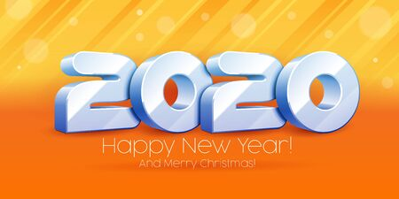 2020 Happy New Year Background, Card, Banner, Flyer Or Merry Christmas Themed Invitations. 3D Blue, White Digits On Orange Background. Ready For Your Design. Vector Banco de Imagens - 135424045
