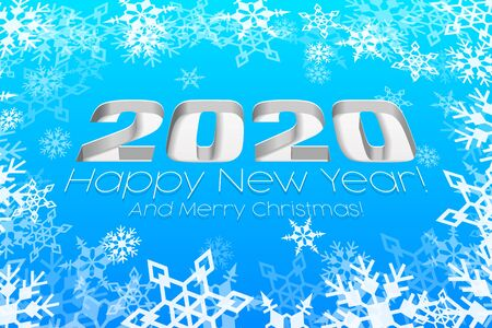 2020 Happy New Year Blue Background, Card, Banner, Flyer Or Christmas Themed Invitations. Illustration Digits And White Snowflake. Ready For Your Design. Vector EPS10 Ilustração