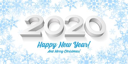 2020 Happy New Year White Background, Card, Banner, Flyer Or Christmas Themed Invitations. Illustration 3D Digits And Blue Snowflake. Ready For Your Design. Vector Banco de Imagens - 135424050