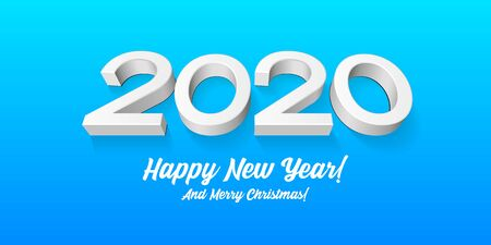 2020 Happy New Year Background, Card, Banner, Flyer Or Merry Christmas Themed Invitations. Gray, White 3D Digits On Blue Blackground. Ready For Your Design. Vector Banco de Imagens - 135424058
