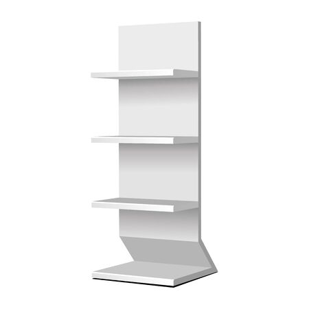 Mockup Cardboard Retail Shelves Floor Display Rack For Supermarket Blank Empty. Mock Up. 3D On White Background Isolated. Ready For Your Design. Product Advertising. Vector EPS10
