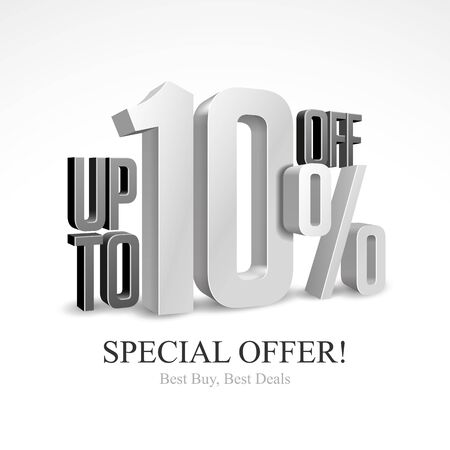 10 Off Special Offer Silver 3D Digits Banner, Template Ten Percent. Sale, Discount. Grayscale, Metal, Gray, Glossy Numbers. Illustration Isolated On White Background. Ready For Your Design. Vector