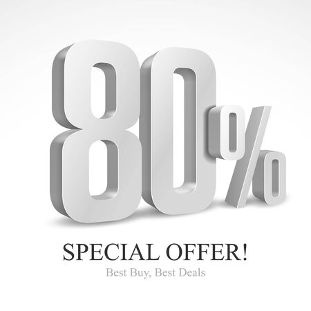 80 Off Special Offer Silver 3D Digits Banner, Template Eighty Percent. Sale, Discount. Grayscale, Metal, Gray, Glossy Numbers. Illustration Isolated On White Background. Ready For Your Design. Vector