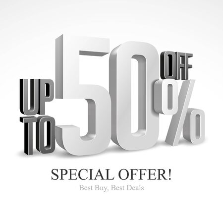 50 Off Special Offer Silver 3D Digits Banner, Template Fifty Percent. Sale, Discount. Grayscale, Metal, Gray, Glossy Numbers. Illustration Isolated On White Background. Ready For Your Design. Vector