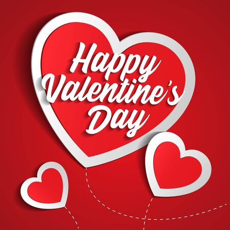 Valentines Day Banner, Paper Sticker Heart . Red, White, Pink. Postcard, Love Message or Greeting Card. Place For Text. Template, Illustration Ready For Your Design. Vector Banco de Imagens - 137414403