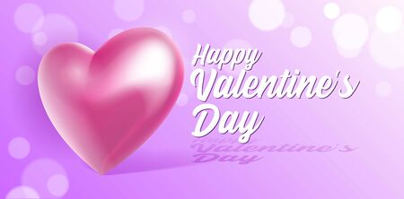 Valentines Day Banner 3D Heart . Red, White, Pink. Postcard, Love Message or Greeting Card. Place For Text. Ready For Your Design, Advertising. Vector Illustration.