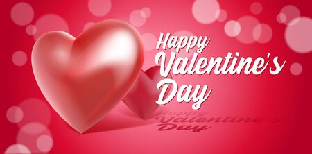 Valentines Day Banner 3D Heart . Red, White, Pink. Postcard, Love Message or Greeting Card. Place For Text. Ready For Your Design, Advertising. Vector Illustration. Banco de Imagens - 137414409