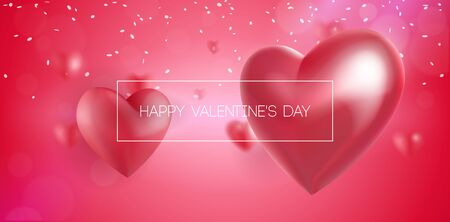 Valentines Day Banner 3D Heart . Red, White, Pink. Postcard, Love Message or Greeting Card. Place For Text. Ready For Your Design, Advertising. Vector Illustration. Banco de Imagens - 137414413
