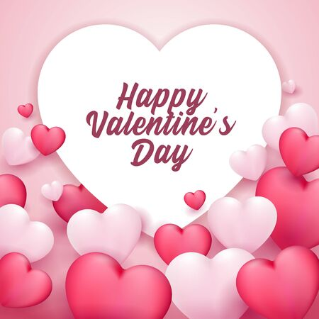 Happy Valentines Day Banner Heart. Red, White, Pink. Postcard, Love Message or Greeting Card. Template, Illustration Ready For Your Design, Advertising. Vector Illustration. Banco de Imagens - 137414419