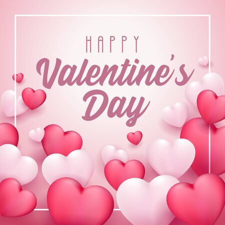 Happy Valentines Day Banner Heart. Red, White, Pink. Postcard, Love Message or Greeting Card. Template, Illustration Ready For Your Design, Advertising. Vector Illustration. Banco de Imagens - 137414421
