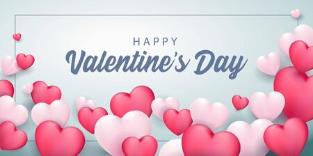 Happy Valentines Day Banner 3D Heart Background. White, Pink, Blue. Postcard, Love Message or Greeting Card. Template, Illustration Ready For Your Design, Advertising. Vector Illustration. Banco de Imagens - 137414422
