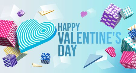 Valentines Day Banner 3D Heart, Colorful Cubes, Triangle. Abstract Geometric Background. Postcard, Love Message, Greeting Card. Place For Text. Ready For Your Design, Advertising. Vector Illustration Banco de Imagens - 137414428