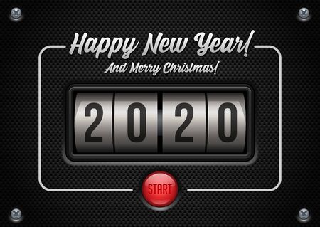 2020 Happy New Year Card, Banner, Flyer Or Marry Christmas Themed Invitations. Mechanical Flip Countdown Clock Counter Timer. Calendar Screen. Board With Scoreboard Digits for Web Design. Banco de Imagens - 137414429
